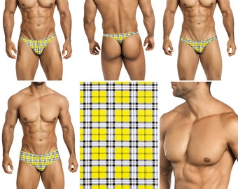 Yellow, Black & White Plaid Swimsuits for Men by Vuthy Sim.  Choose Thong, Bikini, Brief, Squarecut - 214