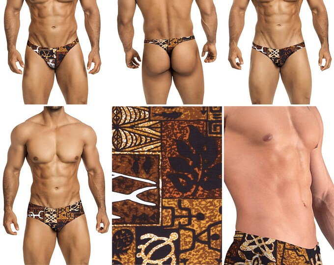 Brown Polynesian Print in 7 Styles - Thong-Bikini-Briefs-Squarecut - 226