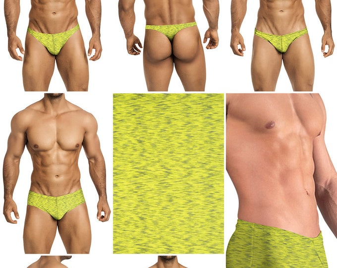 Neon Green with Gray Shimmer in 7 Styles - Thong-Bikini-Briefs-Squarecut-Boxer-Board - 230