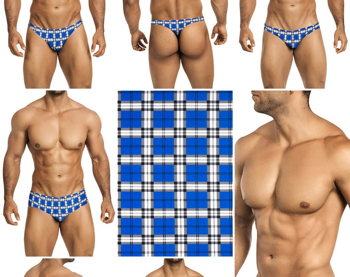 Royal Blue & White Plaid Swimsuits for Men by Vuthy Sim.  Choose Thong, Bikini, Brief, Squarecut - 197