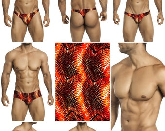 Orange Snakeskin Swimsuits for Men by Vuthy Sim in Thong, Bikini, Brief or Squarecut - 242