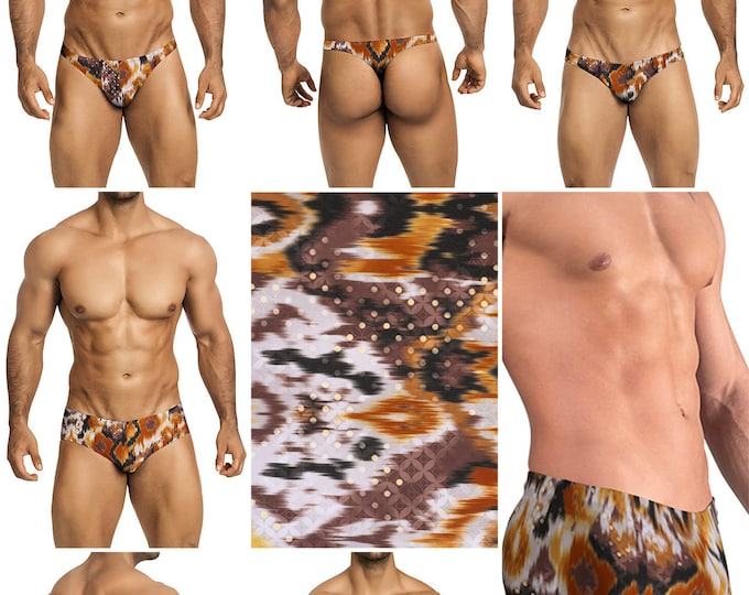 Brown Batik Print in 5 Styles - Thong/Bikini/Briefs/Squarecut - 225