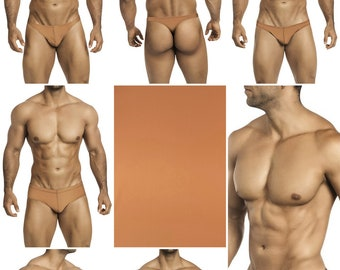 Solid Mocha Swimsuits for Men by Vuthy Sim.  Choose Thong, Bikini, Brief, Squarecut, Boxer, or Board Shorts - 24
