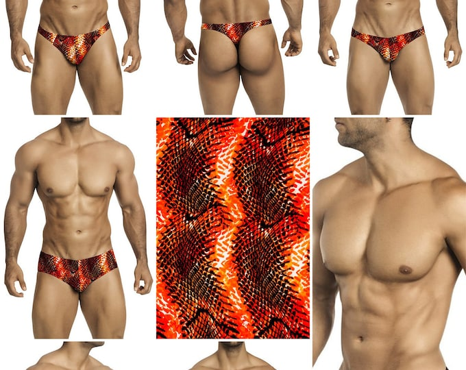Orange-Black Snakeskin Print in 7 Styles -  242