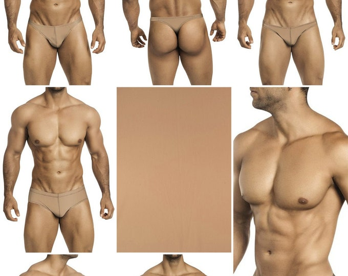 Solid Kahki Swimsuits for Men by Vuthy Sim in Thong, Bikini, Brief, Squarecut, Boxer or Board Shorts - 22