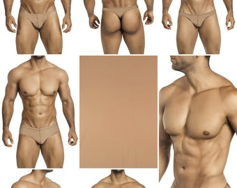 Solid Kahki Swimsuits for Men by Vuthy Sim.  Choose Thong, Bikini, Brief, Squarecut, Boxer, or Board Shorts - 23