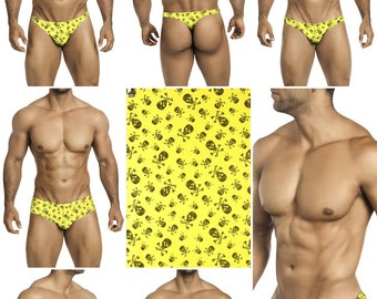 Black Skull & Bones on Bright Yellow Print in 7 Styles -  248