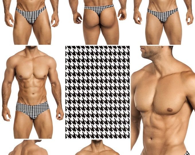 Black Houndstooth on White Swimsuits for Men by Vuthy Sim.  Choose Thong, Bikini, Brief, Retro Brief - 196