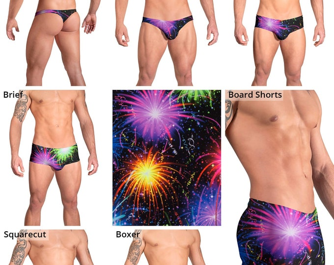 Fireworks Swimsuits for Men by Vuthy Sim in Thong, Bikini, Brief, Squarecut, Boxer or Board Shorts - 170