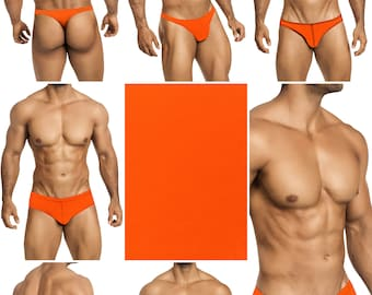 Solid Neon Orange Swimsuits for Men by Vuthy Sim in Thong, Bikini, Brief, Squarecut, Boxer or Board Shorts - 19