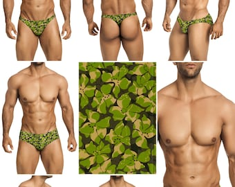 Green Blossom Swimsuits for Men by Vuthy Sim in Thong, Bikini, Brief, Squarecut, Boxer, or Board Shorts - 279