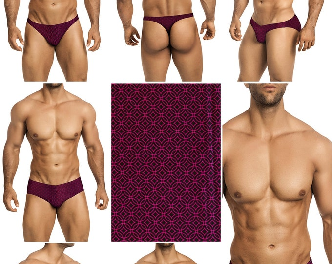 Fuchsia and Black Rings Swimsuits for Men by Vuthy Sim in Thong, Bikini, Brief, Squarecut, Boxer, or Board Shorts - 277