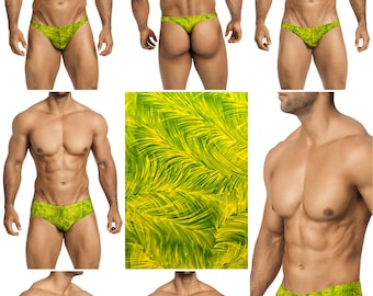 Green Feather Swimsuits for Men by Vuthy Sim in Thong, Bikini, Brief, Squarecut, Boxer or Board Shorts - 252