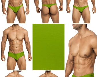 Solid Moss Green Swimsuits for Men by Vuthy Sim in Thong, Bikini, Brief, Squarecut, Boxer or Board Shorts - 26