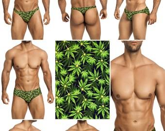 Green Marijuana Swimsuits for Men by Vuthy Sim in Thong, Bikini, Brief, Squarecut, Boxer, or Board Shorts - 275