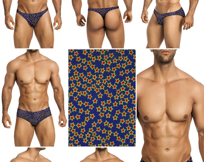 Yellow-Red Stars Swimsuits for Men by Vuthy Sim in Thong, Bikini, Brief, Squarecut, Boxer, or Board Shorts - 290