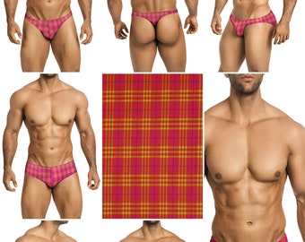 Pink & Yellow Plaid Swimsuits for Men by Vuthy Sim in Thong, Bikini, Brief, Squarecut, Boxer, or Board Shorts - 302