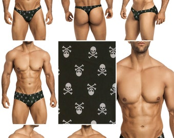 White Skulls Swimsuits for Men by Vuthy Sim in Thong, Bikini, Brief, Squarecut, Boxer, or Board Shorts - 282