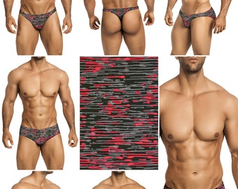 Black-Gray-Pink Swimsuits for Men by Vuthy Sim in Thong, Bikini, Brief, Squarecut, Boxer, or Board Shorts - 278