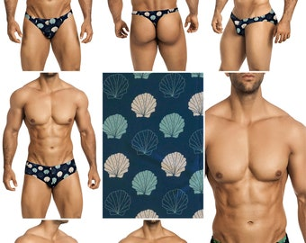 Shells on Blue-Gray Swimsuits for Men by Vuthy Sim in Thong, Bikini, Brief, Squarecut, Boxer, or Board Shorts - 272