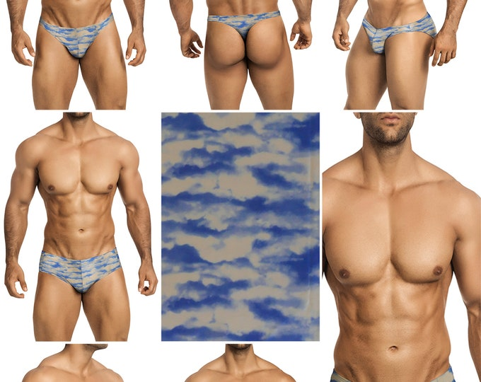 Blue Sky Swimsuits for Men by Vuthy Sim in Thong, Bikini, Brief, Squarecut, Boxer, or Board Shorts - 297