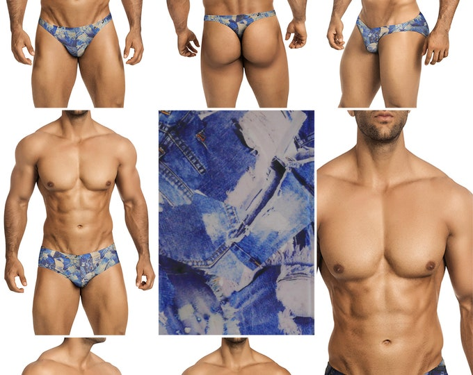 Vintage Jeans Swimsuits for Men by Vuthy Sim in Thong, Bikini, Brief, Squarecut, Boxer, or Board Shorts - 296