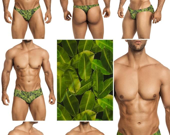 Banana Leaf Swimsuits for Men by Vuthy Sim in Thong, Bikini, Brief, Squarecut, Boxer, or Board Shorts - 292