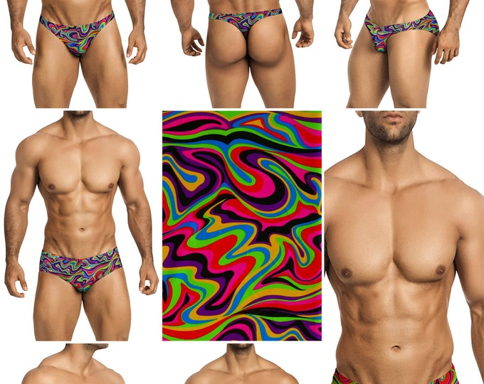 Psychedelic Swimsuits for Men by Vuthy Sim in Thong, Bikini, Brief, Squarecut, Boxer, or Board Shorts - 286
