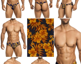 Gold Hibiscus Swimsuits for Men by Vuthy Sim in Thong, Bikini, Brief, Squarecut, Boxer, or Board Shorts - 287