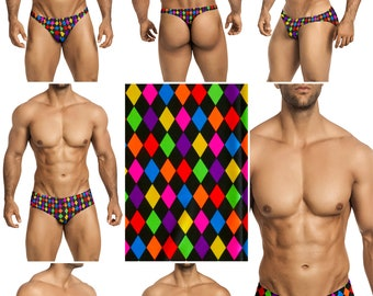 Diamond Check Swimsuits for Men by Vuthy Sim in Thong, Bikini, Brief, Squarecut, Boxer, or Board Shorts - 298