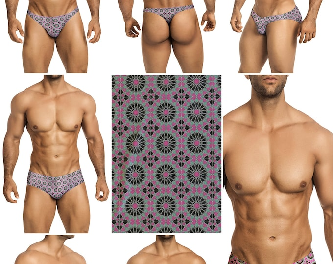 Pink Kaleidoscope Swimsuits for Men by Vuthy Sim in Thong, Bikini, Brief, Squarecut, Boxer, or Board Shorts - 293