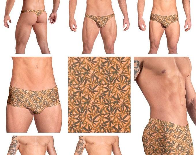 Orange Marijuana Swimsuits for Men by Vuthy Sim in Thong, Bikini, Brief or Squarecut - 102