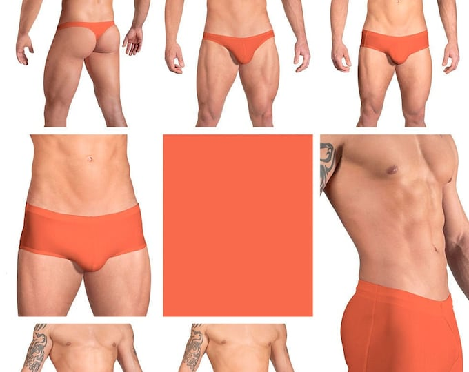 Solid Paprika Orange Swimsuits for Men by Vuthy Sim in Thong, Bikini, Brief, Squarecut, Boxer or Board Shorts - 13