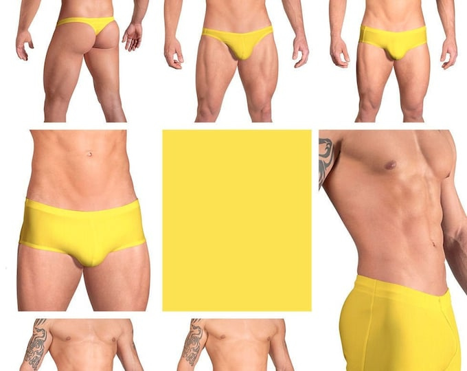 Solid Yellow Swimsuits for Men by Vuthy Sim in Thong, Bikini, Brief, Squarecut, Boxer or Board Shorts - 11