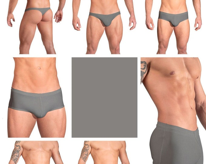 Solid Steel Gray Swimsuits for Men by Vuthy Sim in Thong, Bikini, Brief, Squarecut, Boxer or Board Shorts - 18