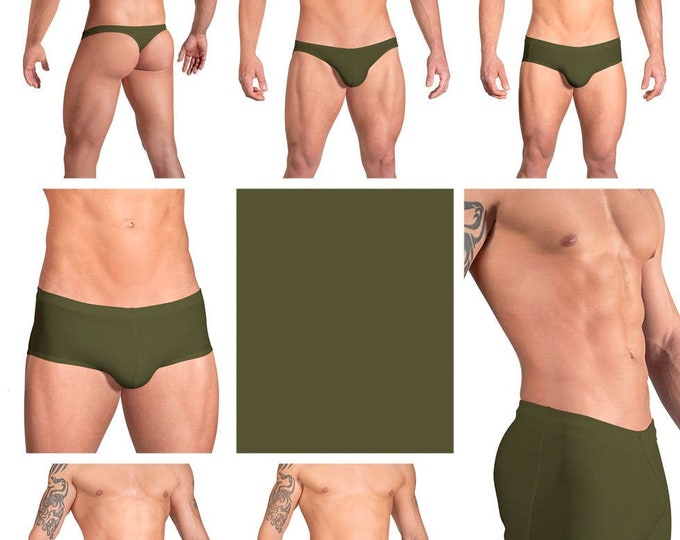Solid Olive Green Swimsuits for Men by Vuthy Sim in Thong, Bikini, Brief, Squarecut, Boxer or Board Shorts - 10