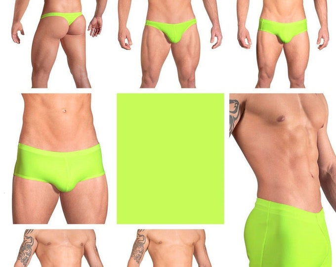 Solid Neon Yellow Swimsuits for Men by Vuthy Sim in Thong, Bikini, Brief, Squarecut, Boxer or Board Shorts - 12
