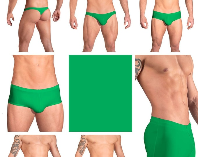Solid Kelly Green Swimsuits for Men by Vuthy Sim in Thong, Bikini, Brief, Squarecut, Boxer or Board Shorts - 09