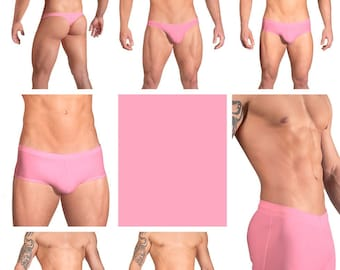 Solid Bubblegum Pink Swimsuits for Men by Vuthy Sim in Thong, Bikini, Brief, Squarecut, Boxer or Board Shorts - 16