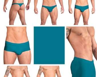 Solid Turquoise Swimsuits for Men by Vuthy Sim in Thong, Bikini, Brief, Squarecut, Boxer or Board Shorts - 07
