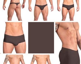 Solid Chocolate Swimsuits for Men by Vuthy Sim in Thong, Bikini, Brief, Squarecut, Boxer or Board Shorts - 02