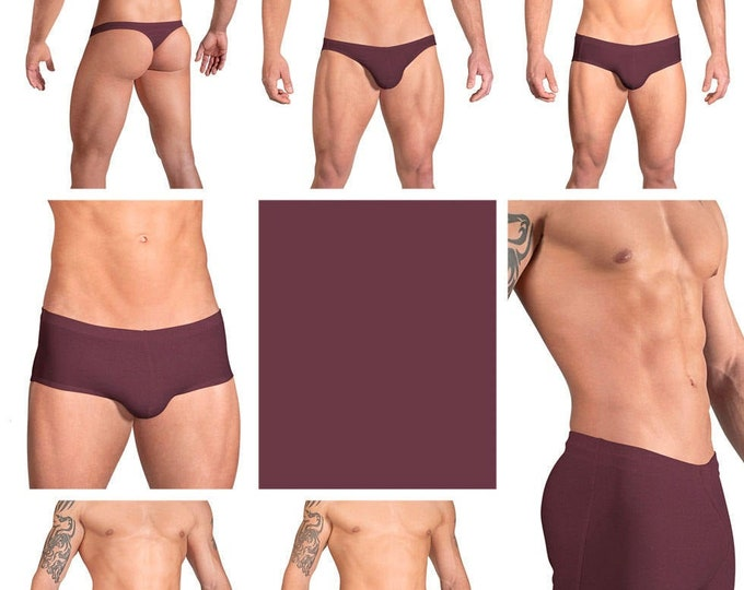 Solid Wine Swimsuits for Men by Vuthy Sim in Thong, Bikini, Brief, Squarecut, Boxer or Board Shorts - 06