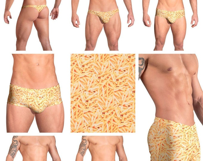 French Fries Swimsuits for Men by Vuthy Sim in Thong, Bikini, Brief, Squarecut, Boxer, or Board Shorts - 106