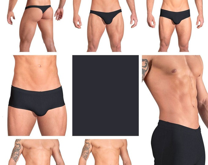 Solid Black Swimsuits for Men by Vuthy Sim in Thong, Bikini, Brief, Squarecut, Boxer or Board Shorts - 03