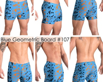 Blue Geometric Print Mens Swimsuits by Vuthy Sim inBoxer & Board Shorts - 107
