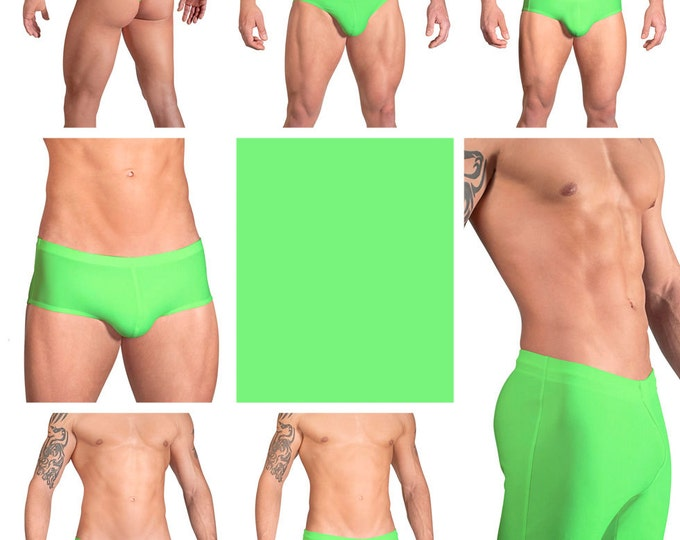 Solid Neon Green Swimsuits for Men by Vuthy Sim.  Choose Thong, Bikini, Brief, Squarecut, Boxer, or Board Shorts - 14