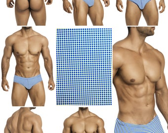 Blue and White Check Swimsuits for Men by Vuthy Sim.  Choose Thong, Bikini, Brief, Squarecut - 199