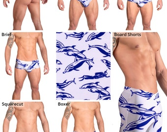 Blue Dolphin Swimsuits for Men by Vuthy Sim.  Thong, Bikini, Brief, Squarecut, Boxer, or Board Shorts - 166