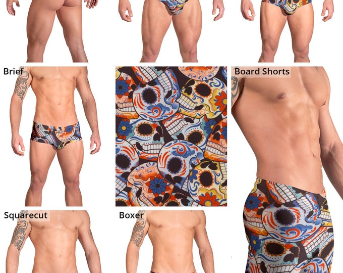Happy Skulls Swimsuits for Men by Vuthy Sim.  Thong, Bikini, Brief, Squarecut, Boxer, or Board Shorts - 152