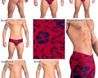 Deep Red & Blue Hibiscus Swimsuits for Men by Vuthy Sim:  Thong, Bikini, Brief, Squarecut, Boxer, Board Shorts - 162